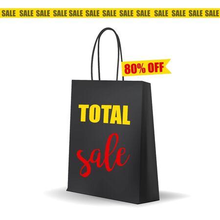 total: Empty Black Shopping  Bag . Total Sale Tag. MockUp Package. Vector Illustration.