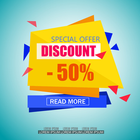 Discount Sale Paper Banner Design. Big Sale tag. Sale poster.50% off. Special Offer Tag.Sale Vector Illustration for Promotional brochure,poster,advertising shopping flyer, discount,banner. Иллюстрация