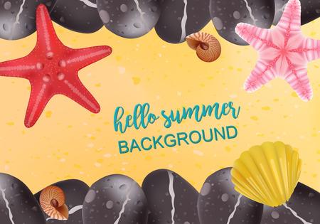 inhabitants: Summer holidays illustration. sea inhabitants on a beach sand. Starfish, Shell, Spa Stones. Vector Realistic Illustration.