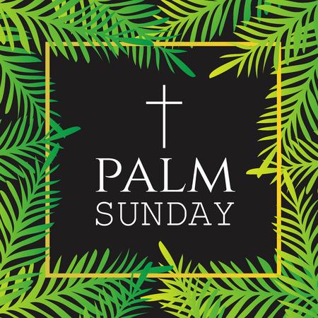 słońce: Gałęzie palmowe wokół tekstu Palm Sunday z Krzyżem. Święto Wielkanocne. Święta chrześcijańskie religijne. Ilustracja wektora.