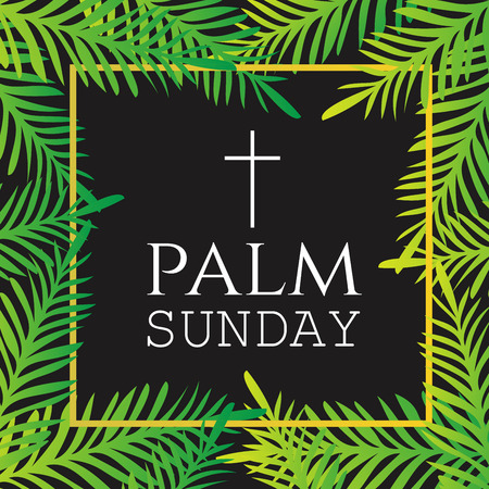 religious celebration: Palm branches surrounding  Palm Sunday text with Cross. Easter celebration. Religious Christian Holiday. Vector Illustration. Illustration