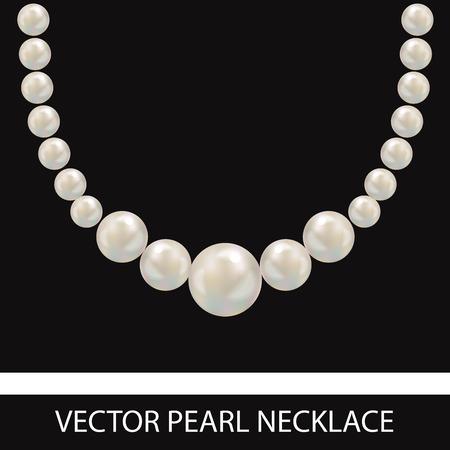真珠のネックレス。リアルなベクター イラストです。黒の背景。