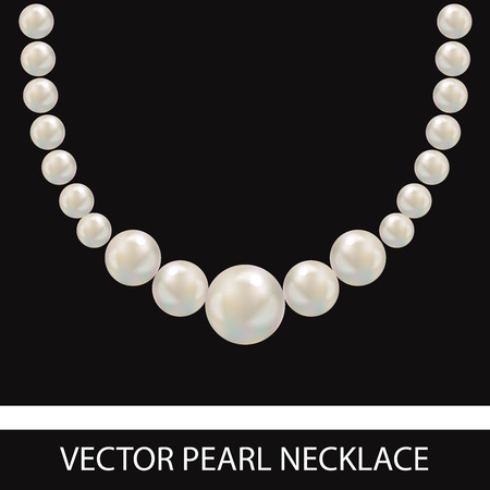 Pearl Necklace. Realistic Vector Illustration. Black Background. 向量圖像