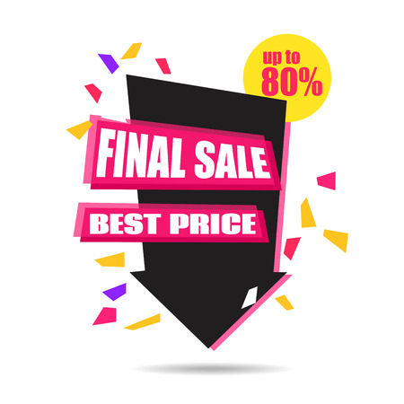 tock illustration: Final Sale Arrow Banner Design.  Vector Sale Illustration for Promotional brochure,booklet,poster, shopping flyer, discount banner.