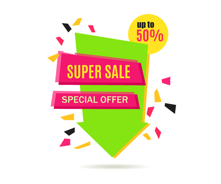 Super Sale Arrow Banner Design.  Vector Sale Illustration for Promotional brochure,booklet,poster, shopping flyer, discount banner. Illustration