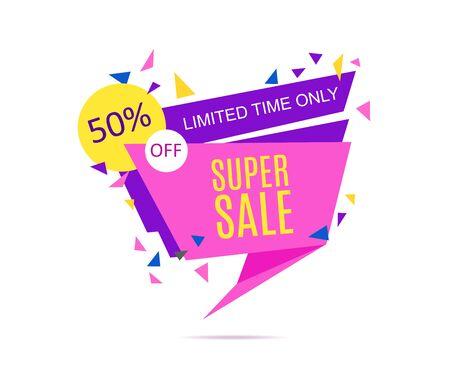 limited time: Super Sale Banner. Limited Time Only.Vector illustration.