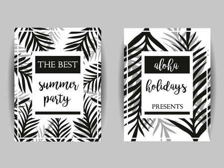 palm branch: Summer party posters with palm leaf and lettering. Summer Party. Aloha Holidays. Abstract Palm Branch. Greeting card, Invitation, Party Flyer. Tropical Summer Background.