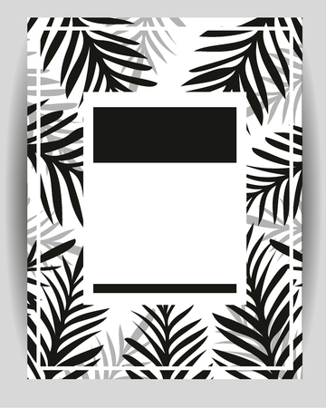 Summer party poster with palm leaf. Abstract Palm Branch. Greeting card, Invitation, Party Flyer. Typographycal Poster. Vector Illustration. Geometric Monohrome Abstract Style. Empty Space For Text.