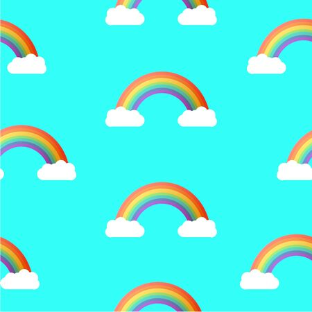 rainbow sky: Seamless Rainbow and Sky Pattern. Vector Background.