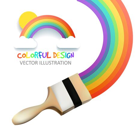 hape: Rainbow with brush. Abstract Colorfull background. Vector illustration.