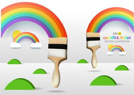 hape: Rainbows and brushes. Abstract Colorfull background. Vector illustration.