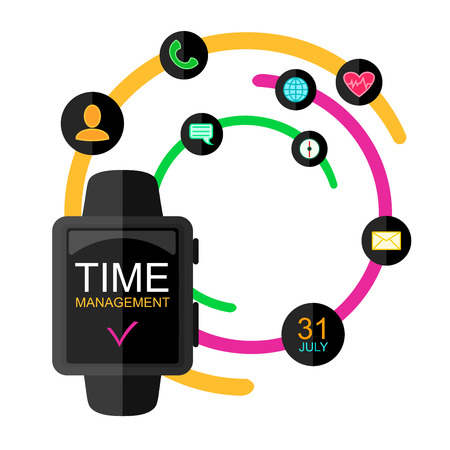 management concept: Time Management Concept. Smart Watch with Icons and Buttons. Flat Style. Vector Illustration. Illustration