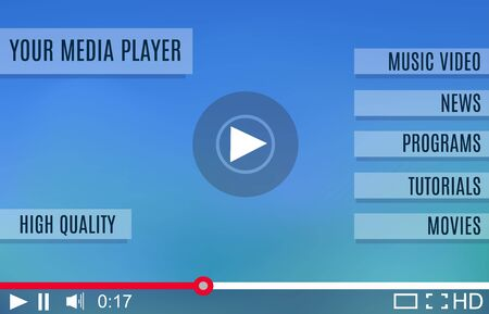 adjuster: Video player for web. Media Player Interface. Minimalistic Design. Flat Style.Player MockUp