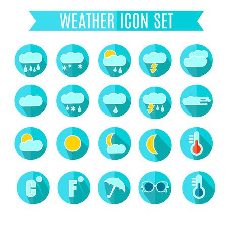 Weather Icon Set. Blue Colors. Vector Illustration
