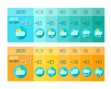 widget: Weather Forecast. Weater Widget. Blue and Orange Colors. Vector Illustration