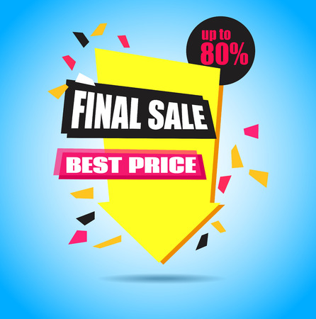 Final Sale Arrow Banner Design.  Vector Sale Illustration for Promotional brochure,booklet,poster, shopping flyer, discount banner.