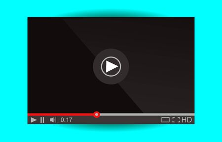 windows media video: Video player for web. Media Player Interface. Minimalistic Design. Flat Style.Player MockUp