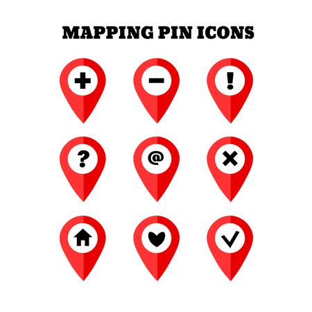 simbols: Map pointer icon set with simbols. GPS location sign. Flat design style. Isolated On White