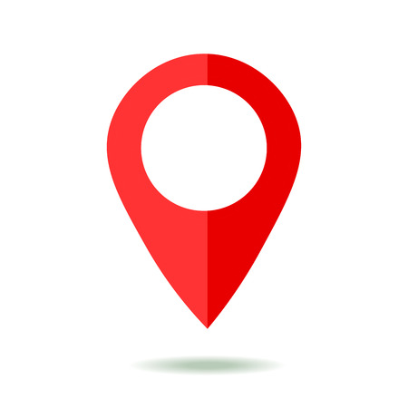 rout: Map pointer icon. GPS location symbol. Flat design style. Isolated On White Illustration