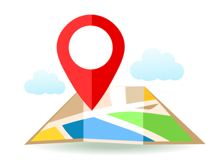 Flat map with pin. Vector location pointer icon. Markers on the Map.