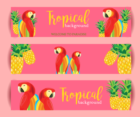 emplate: Tropical Background banner with Parrot and Pineapple. Vector illustration