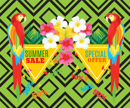 promotional: Summer Hot Sale Poster. Parrot, Exotic Flowers and Palm Leaves. Vector geometric promotional illustration.