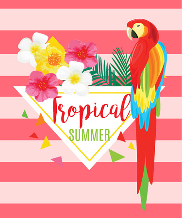 exotic fruit: Parrot, Exotic Flowers and Pineapple. Vector geometric illustration with stripes. Tropical Summer Poster.