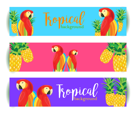 Tropical Background banner with Parrot and Pineapple. Vector illustration