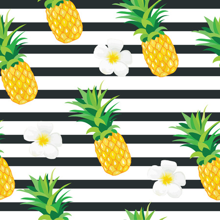 cartoon pineapple: Pineapple with Exotic Flowers Seamless Pattern. Tropical Summer Illustration for wallpaper, background, wrapper or textile