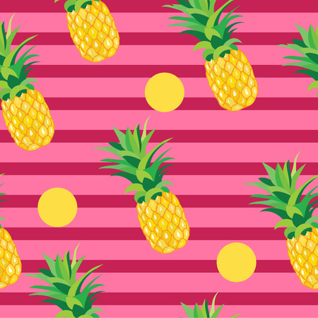 scrap gold: Pineapple with Golden Dots Seamless Pattern. Tropical Summer Illustration for wallpaper, background, wrapper or textile