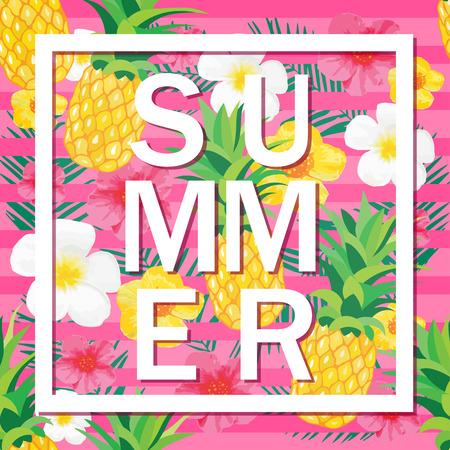 热带背景用菠萝,异乎寻常的花。夏天字。矢量图为横幅,背景,t恤,海报,纺织品