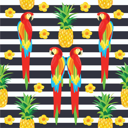 cartoon pineapple: Parrot and Pineapple Seamless Pattern. Exotic Flowers. Tropical Summer Illustration for wallpaper, background, wrapper or textile