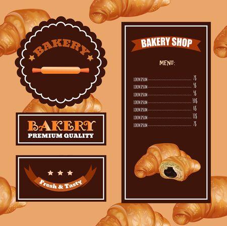 sale banner: Baking Menu Design. Baking Shop, Cafe, Market. Pattern with Croissant Emblems Illustration