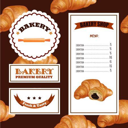 sale banner: Baking Menu Design. Baking Shop, Cafe, Market. Pattern with Croissant Emblems and