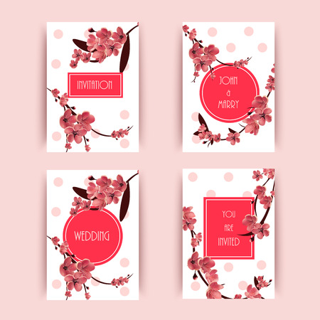 Sakura, Cherry Blossoming Tree Vector Background Illustration. Set of Beautiful Floral Banners, Greeting cards, Wedding Invitations, Backdrops, Vouchers . Illustration