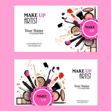 Make-up Artist Business Card Design Set. Cosmetische producten Vector Illustratie met potlood, oogschaduw, poeder, Lipstic, Mascara, Brush. Printable Template voor Banner, Poster, Voucher, boekjes.