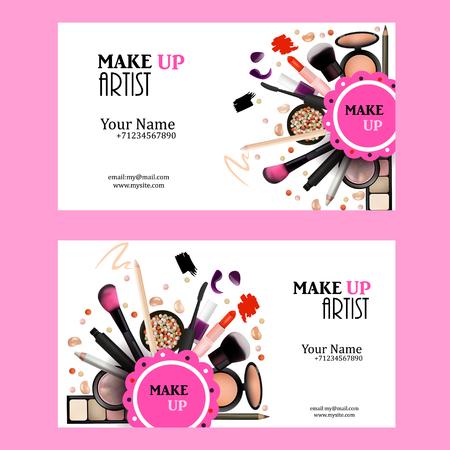 Make Up Artist Business Card design Set. Produits Cosmétiques Vector Illustration avec le crayon, fard à paupières, poudre, Lipstic, Mascara, Brush. Modèle imprimable pour bannière, Affiche, Bon, Livret. Vecteurs