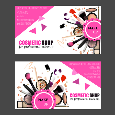 makeup artist: Cosmetic Shop Business Card Design Set. Cosmetic Products for Professional Make Up Artists. Vector Illustration with Pencil, EyeShadow,Powder,Lipstic,Mascara,Brush. Printable Template for Banner, Poster, Voucher, Booklet.