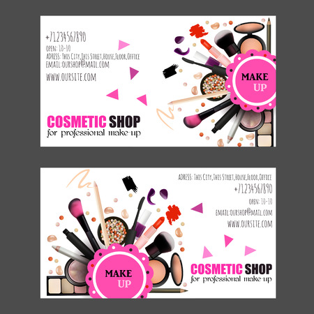 rouge: Cosmetic Shop Business Card Design Set. Cosmetic Products for Professional Make Up Artists. Vector Illustration with Pencil, EyeShadow,Powder,Lipstic,Mascara,Brush. Printable Template for Banner, Poster, Voucher, Booklet.