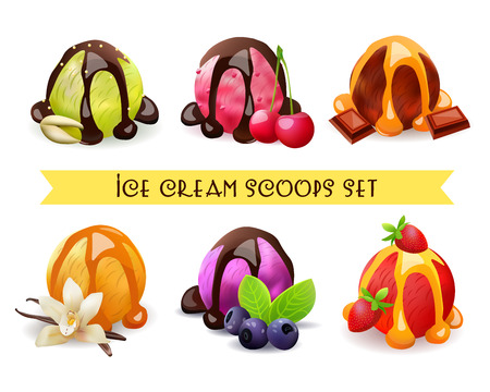 pistachio: Ice Cream Scoops Set. Pistachio,Cherry,Chocolate,Vanilla,Blueberry,Strawberry Flavor.Vector Illustration. Isolated Objects. Illustration