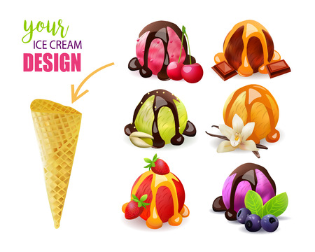 Ice Cream Constructor. Scoops and Cone. Vector Design. Different Flavors.