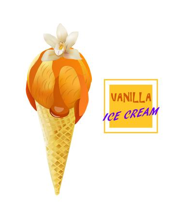 Vanilla Ice Cream Cone. Tasty Flavor with liquid Caramel. Vector Isolated Product. Illustration
