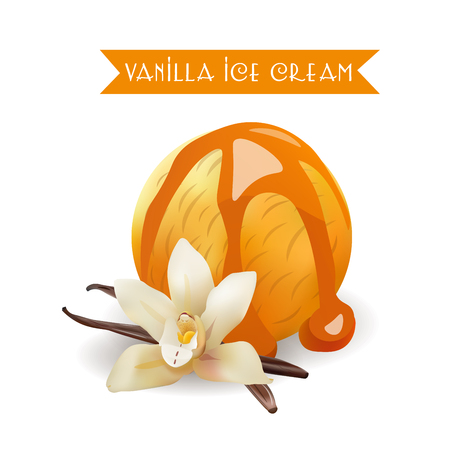 Vanilla Ice Cream Scoop. Tasty Flavor with liquid Caramel. Vector Isolated Product.