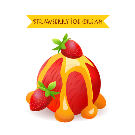 flavor: Strawberry Ice Cream Scoop. Berry Flavor with liquid Caramel. Vector Isolated Product. Illustration