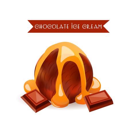 Chocolate Ice Cream Scoop. Dessert Flavor with liquid Caramel. Vector Isolated Product.