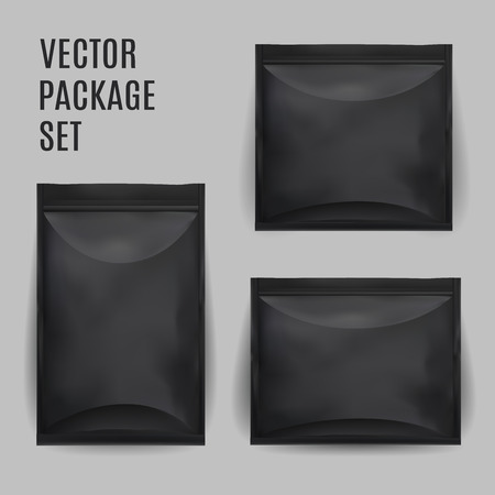 sachet: Black Blank Foil Food Snack Sachet Bag Packaging For Coffee, Salt, Sugar, Pepper, Spices, Sachet, Sweets, Chips, Cookies. Vector Mock Up Illustration Isolated.
