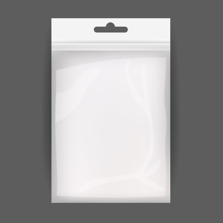 hang up: White Blank Plastic Realistic Pocket Bag. Hang Slot. Vector Illustration Isolated . Mock Up Template Ready For Your Design.