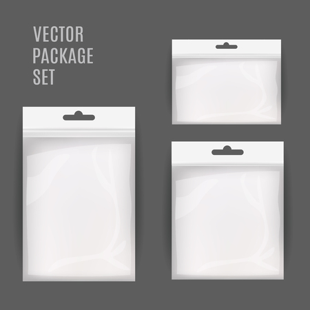 hang up: White Blank Plastic Realistic Pocket Bag Set. Hang Slot. Vector Illustration Isolated . Mock Up Template Ready For Your Design.
