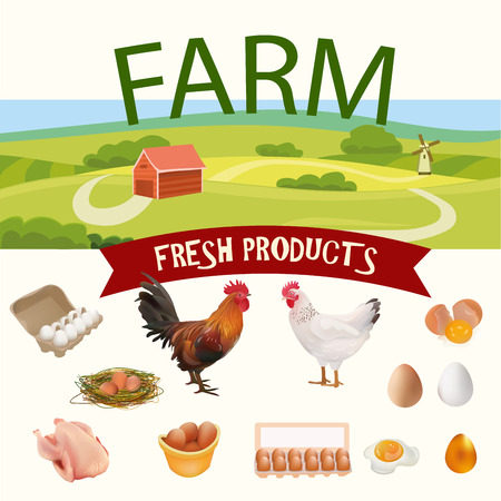 Rural Farm Landscape with Hen, Rooster and Eggs Realistic Icons. Vector Illustration