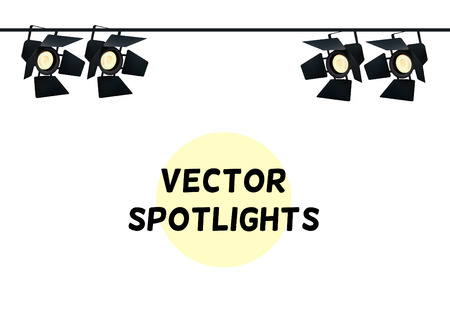 realism: Realistic Spotlights. Light Effect. Scene, Studio, Show. Isolated Vector Illustration on White Background